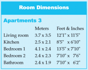 Apartment 3 Room Dimensions - Bay View Apartments in Mumbles